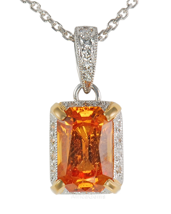 Sizzling Hot 8x6mm Emerald Cut Orange 2.5ct Sapphire set in Diamond Pave in 2 tone 18 kt gold for SALE - FREE Chain - SOLD