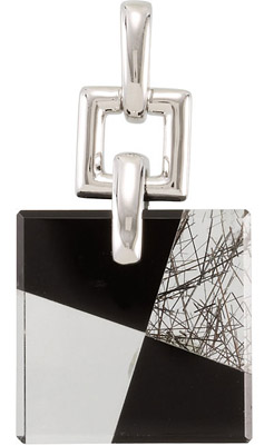 Sleek 21.16ct 18mm Square Puzzle Style Geometric Pendant with Black Onyx, Tourmalinated Quartz, and Clear Quartz - FREE Colored Silky Cord