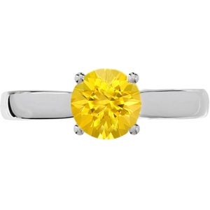 Sleek 4-Prong Round Solitaire Genuine Yellow 1 carat 6mm Sapphire Engagement Ring - Diamond Accents at Base of Prongs