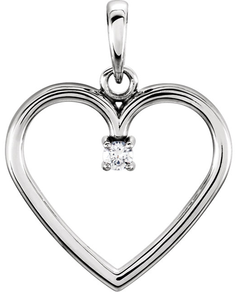 Sleek Solitaire .03ct Diamond Pendant in 14k Gold Open Heart Frame - Metal Type Options - FREE Chain