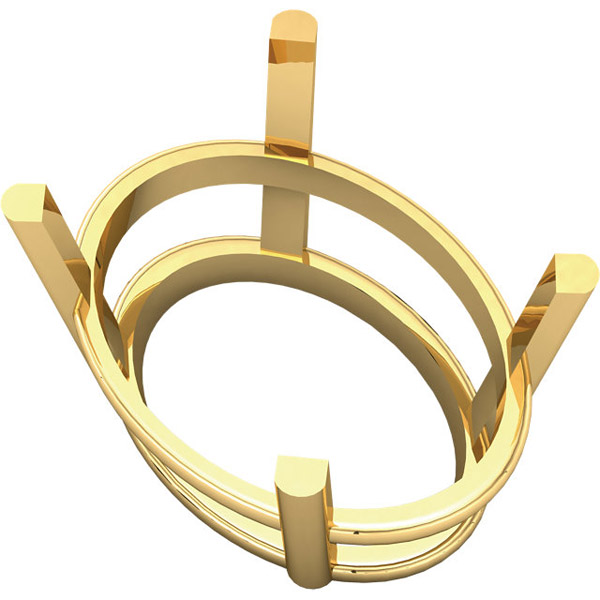 Slender 14kt Gold 4 Prong Wire Basket Setting for Oval Gemstone Sized 4.00 x 3.00 mm to 20.00 x 15.00 mm