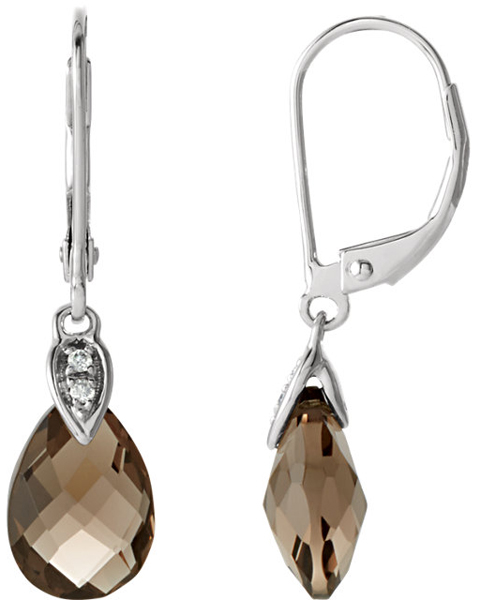 Smokin' Hot Super Stylish 3.34ct 10x7mm Smokey Quartz Briolette Earrings in 14k White Gold - Diamond Accents