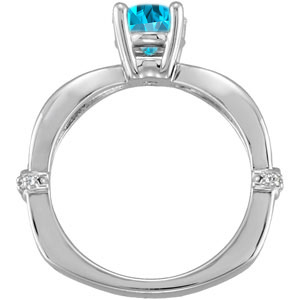 Smoking Hot Sculpted Style Blue Zircon Solitaire Engagement Ring - Dazzling Diamond Accents - SOLD