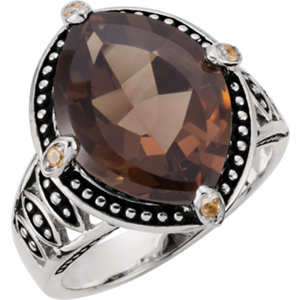 Smoky Quartz, Citrine & Madeira Citrine Granulated Design Ring