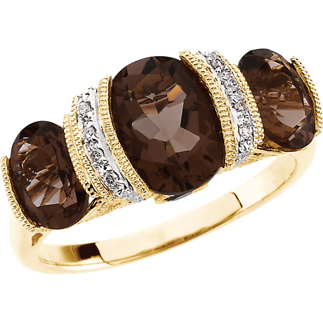 Smoky Quartz & Diamond Accented Granulated Design Ring