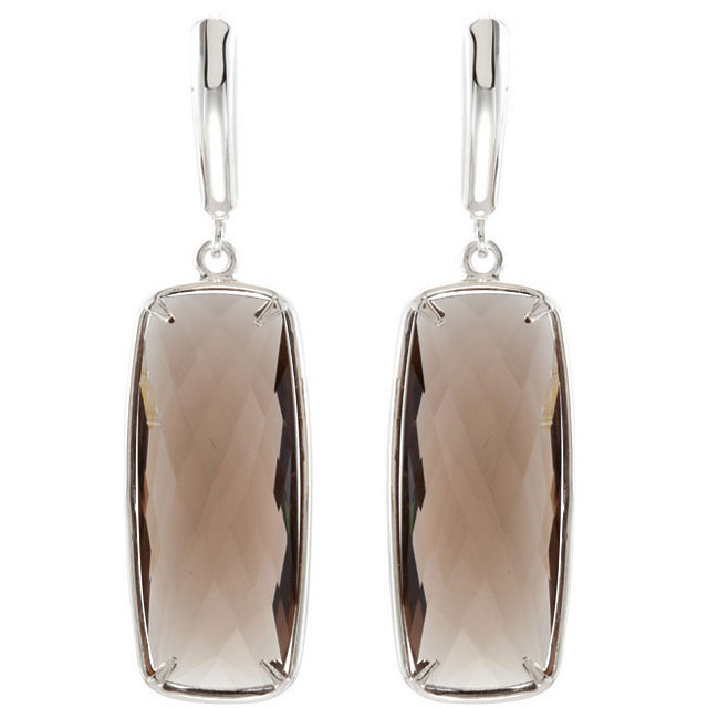 Smoky Quartz Lever Back Earrings