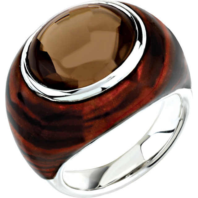 Smoky Quartz Tiger Print Enamel Ring