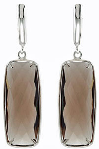Smoldering 25.8ct 25x10mm Smokey Quartz Gemstone Lever back Earrings in Sterling Silver for SALE - SOLD