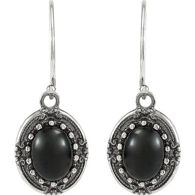 Smoldering Sterling Silver Wire Back 9x7mm Onyx Gemstone Fashion Earrings for SALE
