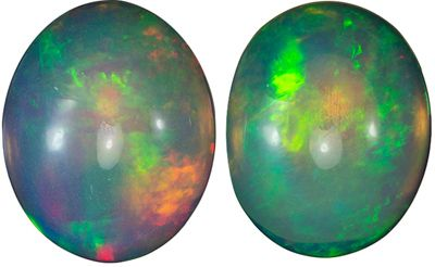 So Pretty Gem Ethiopian Opal Oval Cut in Rare Matched Pair, 2.47 carats, 9.8 x 7.8 mm
