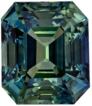 So Pretty Gemstone Blue Green Sapphire Emerald Cut, 2.78 carats, 7.8 x 6.7 mm