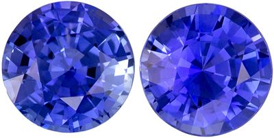 So Pretty Matched Gem Blue Sapphires in Round Cut, 1.33 carats, 5.1 mm