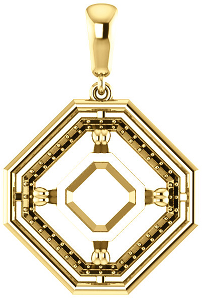 Solitaire Accented Pendant Mounting for Asscher Gemstone Size 5mm to 10mm