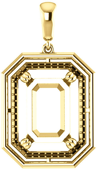 Solitaire Accented Pendant Mounting for Emerald Centergem Sized 5.00 x 3.00 mm to 16.00 x 12.00 mm - Customize Metal, Accents or Gem Type