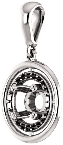 Solitaire Accented Pendant Mounting for Round Centergem Sized 4.10 mm to 15.00 mm - Customize Metal, Accents or Gem Type