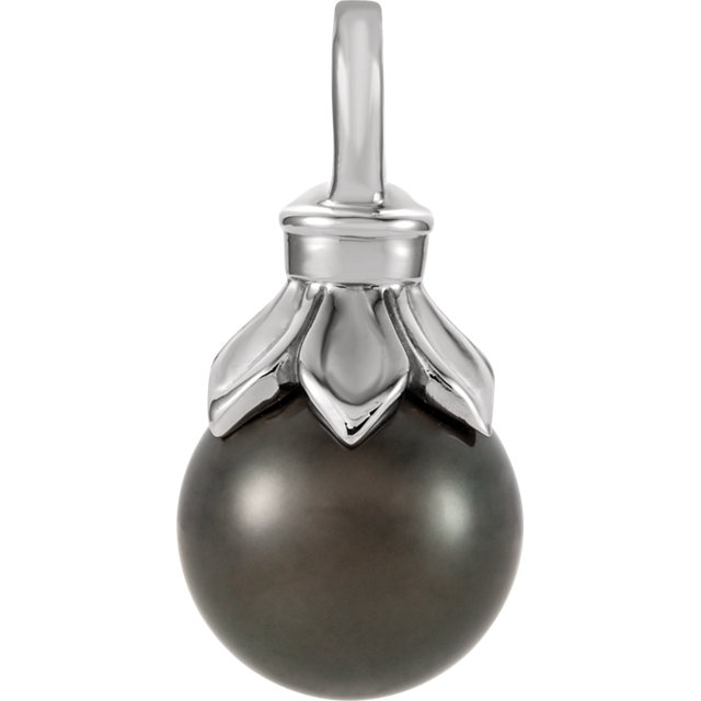 Appealing Jewelry in 14 Karat White Gold Tahitian Cultured Pearl Pendant