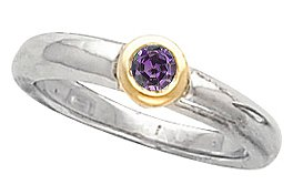 Solitaire Round Cut FINE 0.25ct 4.00 mm Round Shape Real Alexandrite Gem Bezel Set Engagement Ring in 2 Tone Gold