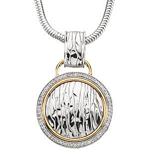 Sophisticated 2-Tone Sterling Silver and 14k Yellow Gold Circle Pendant With a 1/3ct Diamond Frame - FREE Chain