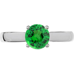 Sophisticated 4-Prong Round Solitaire Genuine 1 carat Tsavorite Garnet Engagement Ring - Diamond Accents at Base of Prongs