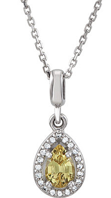 Sophisticated Look! Natural .53ct 6x4mm Canary Yellow Sapphire Pear Shape Pendant With White Diamond Halo Frame - 14k White Gold - Free Chain Included - SOLD