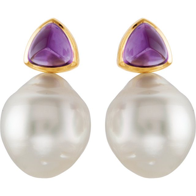 South Sea Cultured & Amethyst Earrings or Semi-mount