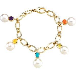 South Sea Cultured Circle Pearl Charm Bracelet