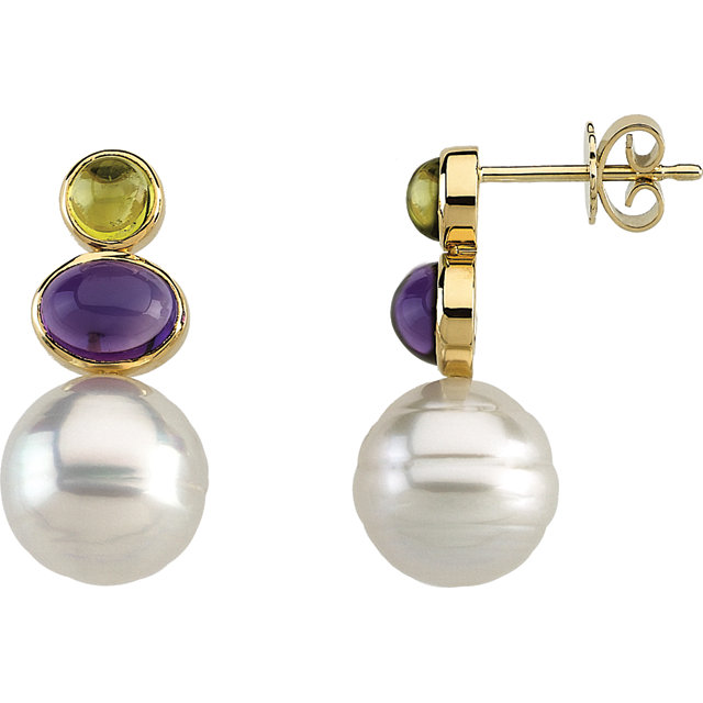 South Sea Cultured Circle Pearl, Genuine Peridot & Genuine Amethyst Earrings