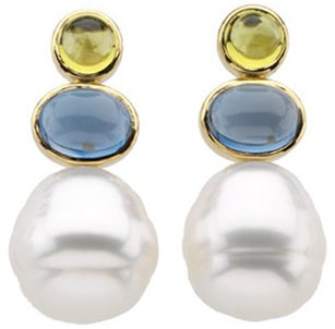 South Sea Cultured Circle Pearl, Genuine Peridot & Genuine London Blue Topaz Earrings