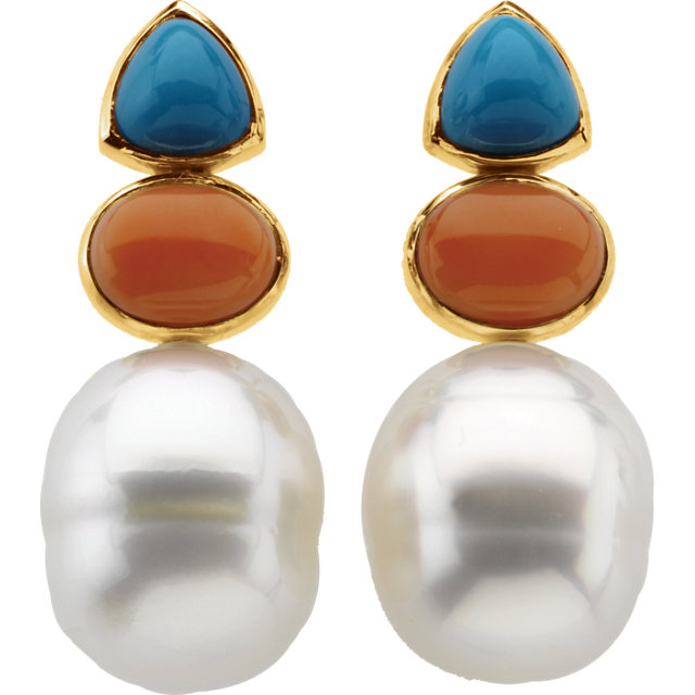 South Sea Cultured Circle Pearl, Genuine Turquoise & Genuine Pink Coral Earrings