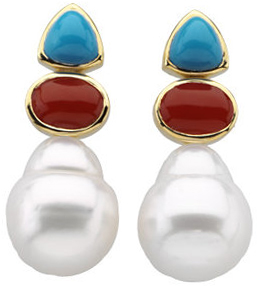 South Sea Cultured Circle Pearl, Genuine Turquoise & Genuine Red Coral Earrings