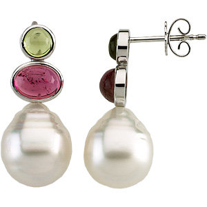 South Sea Cultured Circle Pearl & Multicolor Gemstone Earrings