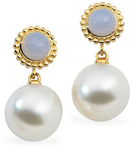 South Sea Cultured Pearl & Genuine Chalcedony Earrings