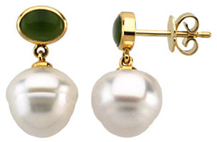 South Sea Cultured Pearl & Nephrite Jade Earrings