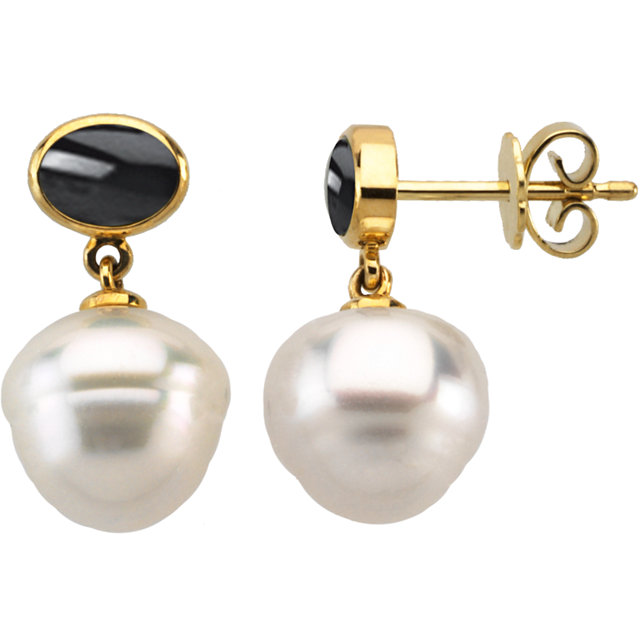 South Sea Cultured Pearl & Onyx Earrings