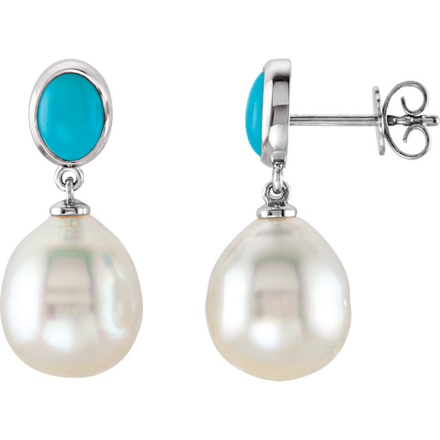 South Sea Cultured Pearl & Turquoise Earrings