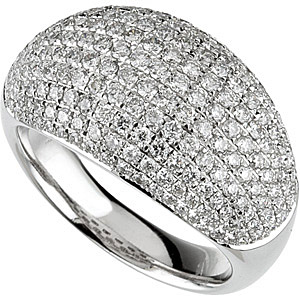 Sparkling 2 carat Diamond Disco Ball Shining HUGE Pave Diamond Ring in White or Yellow 14 kt Gold