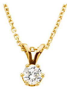 Sparkling .25ct Diamond Solitaire Pendant - Choose Diamond Size - Choose Metal Color - FREE Chain