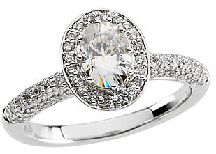 Sparkling Diamond Accented Created Moissanite Gemstone Engagement Ring With 1.7ct 7x5mm Oval Center in 14k White Gold