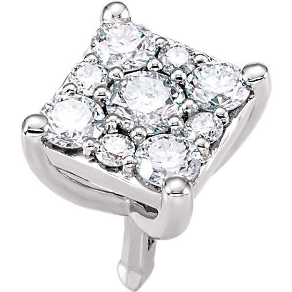 Sparkly Square Diamond Cluster Preset Peg Jewelry Finding in 14kt White Gold - 9 Diamond Accents