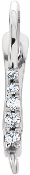 Sparkly Sterling Silver .08CTW Diamond Accented Click In Lever Back with Ring