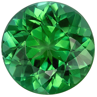 Special Blue Green Tourmaline Loose Gem in Round Cut, 8 mm, Open Grass Green, 1.96 carats