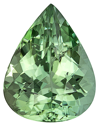 Special Green Tourmaline Brazilian Gemstone in Beautiful Mint Green Color, Pear Cut, 1.74 carats
