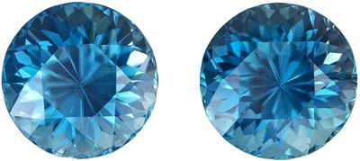 Special Intense Pair of Blue Zircons in Round Cut, 3.75 carats, 6.6 mm