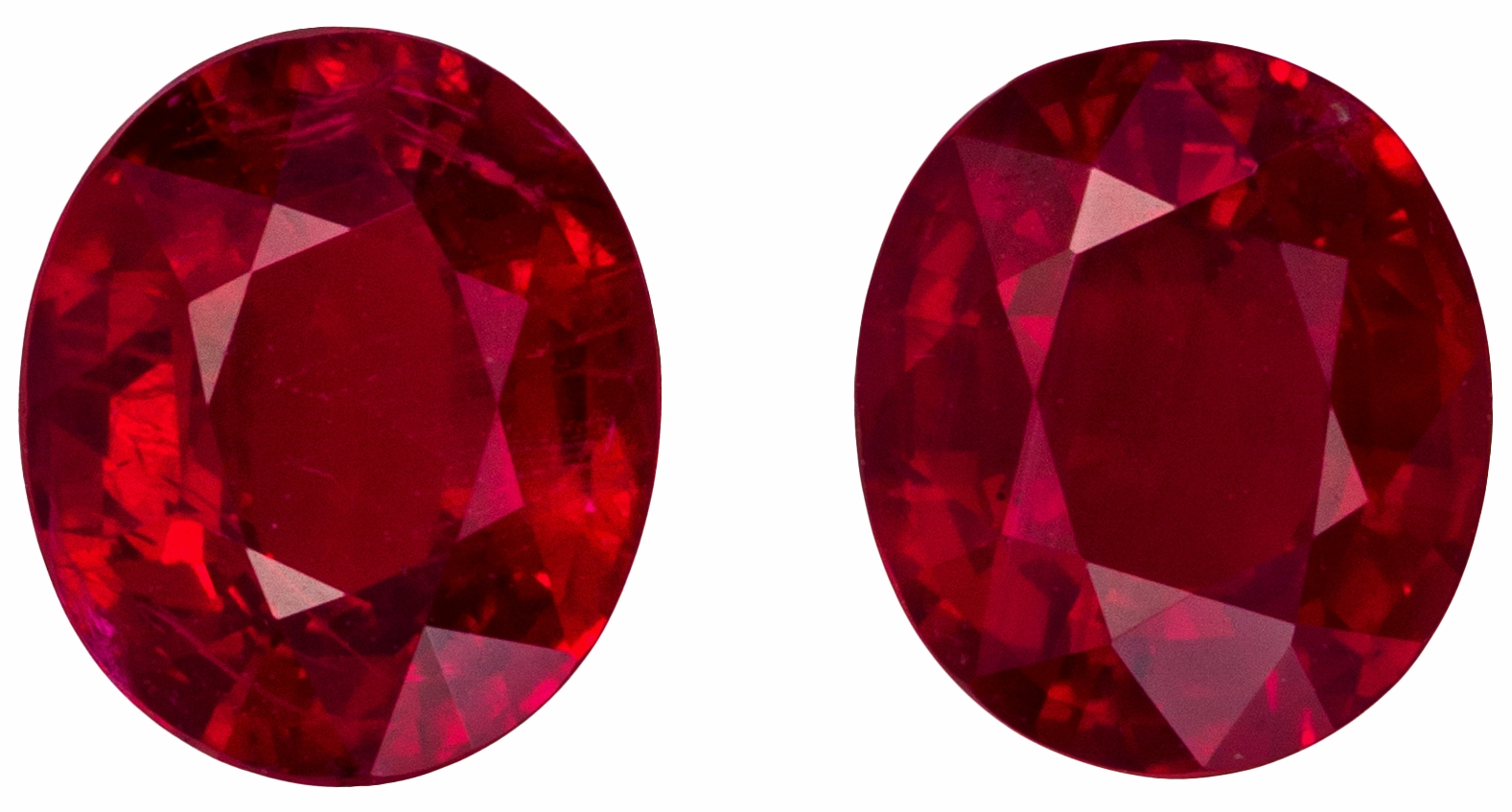 Pair of 3.11 carat Rubies in Oval shape gemstones, 7.6 x 5.5 mm in Vivid Pure Red