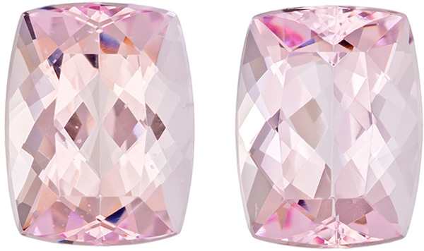 Special Loose Morganites Pair in Cushion Cut, Medium Baby Pink Color in 10.8 x 8.3 mm, 7.06 carats