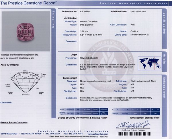 Special No Heat Baby Pink Sapphire with Prestige AGL Report, Great looking Gem in 8.6 mm, 3.66 carats