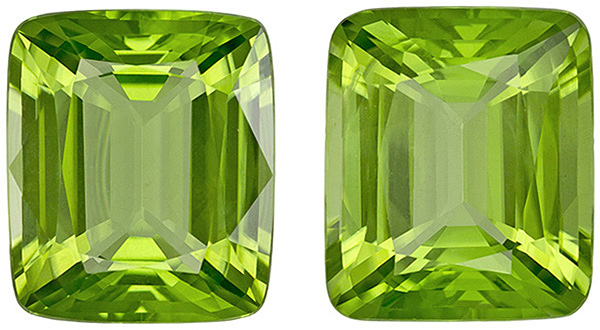 Special Peridot Matched Pair in Cushion Cut, Neon Lime Green Color, 13.5 x 11.5 mm, 16.9 carats