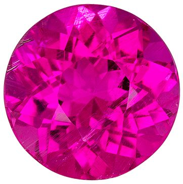 Special Pink Tourmaline Round Cut Genuine Gem, Vivid Hot Pink, 7.8 mm, 1.86 carats