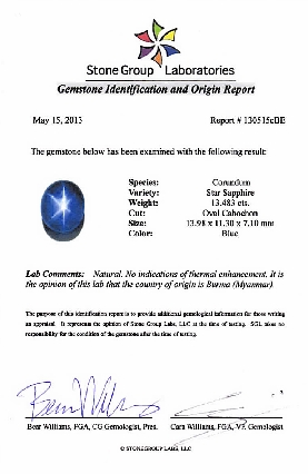 Special Rich Blue Burma Star Sapphire in 13.9 x 11.3 mm, Oval Cabachon Cut, 13.49 carats