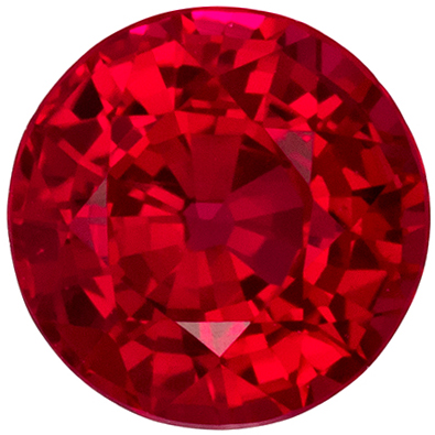 Special Ruby Loose Gem in Round Cut, 0.84 carats, Vivid Rich Red, 5.4 mm